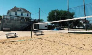 Sand volleyball court at the R Bar.